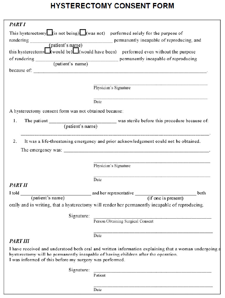 Hysterectomy Consent Form
